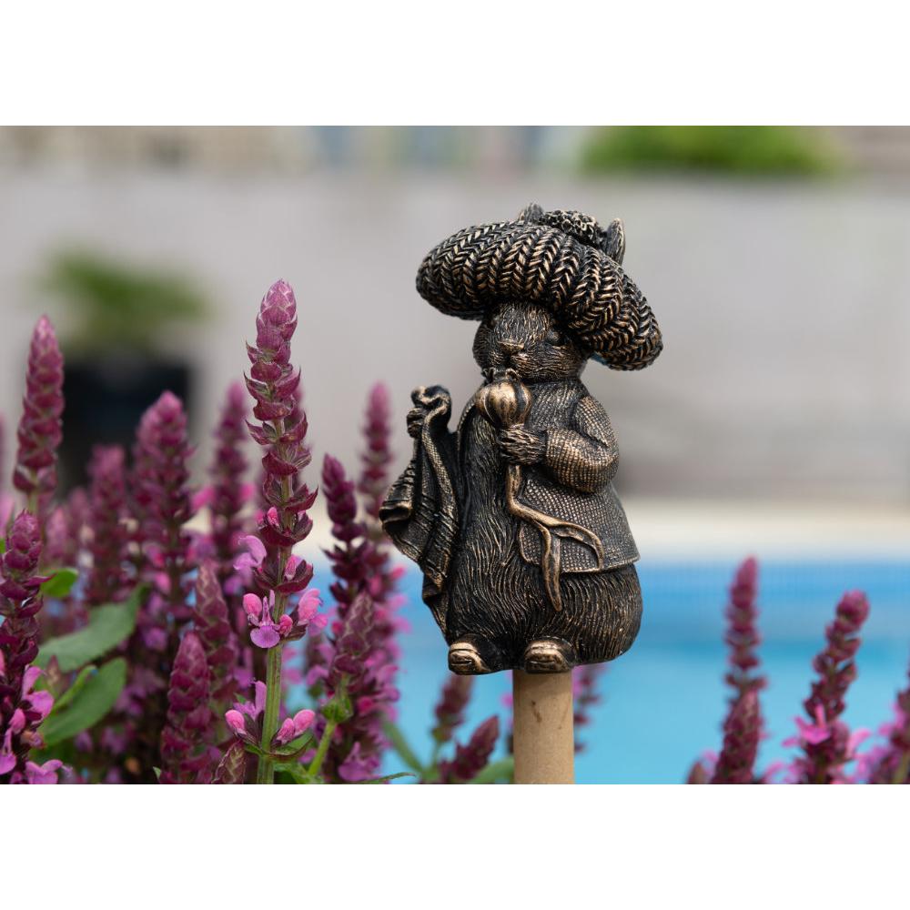 Image of Antique Bronze Coloured Beatrix Potter Benjamin Bunny Cane Companion - Cane or Stake Topper