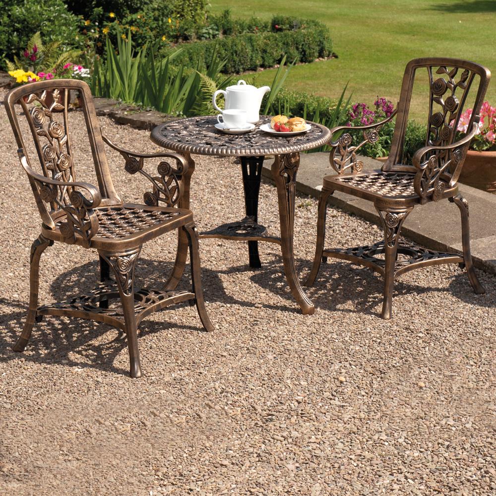 Image of Three-Piece Rose Armchair Bistro Set - Bronze