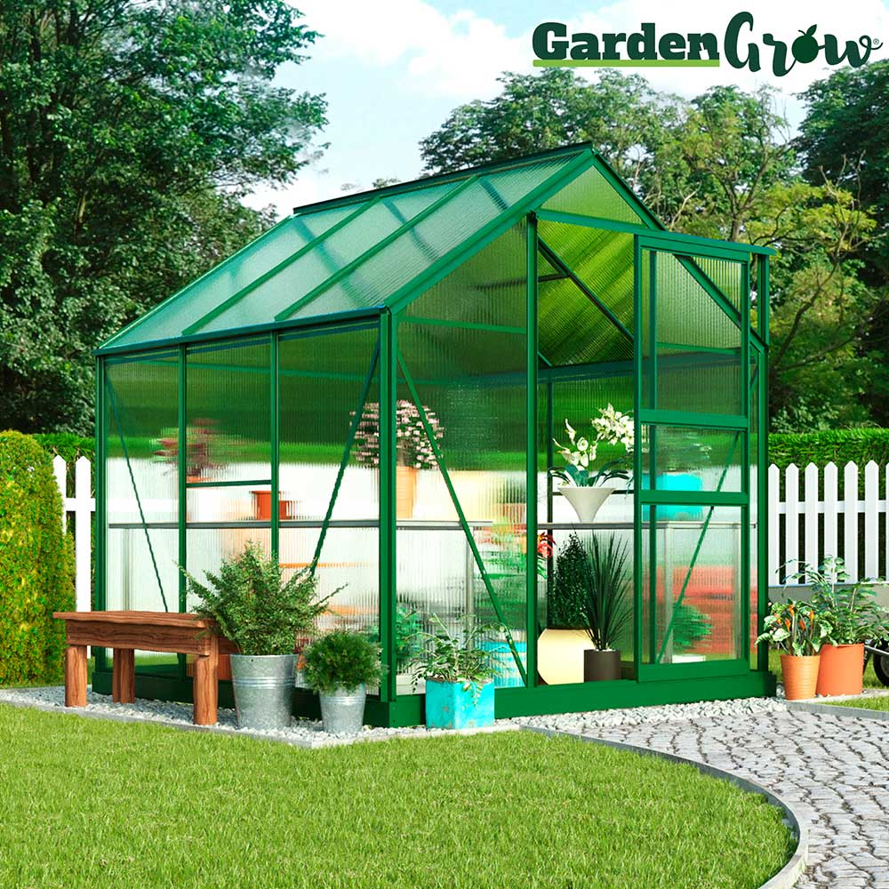 Image of Garden Grow Traditional Greenhouse 6.2 X 6.2 X 6.6ft - Green