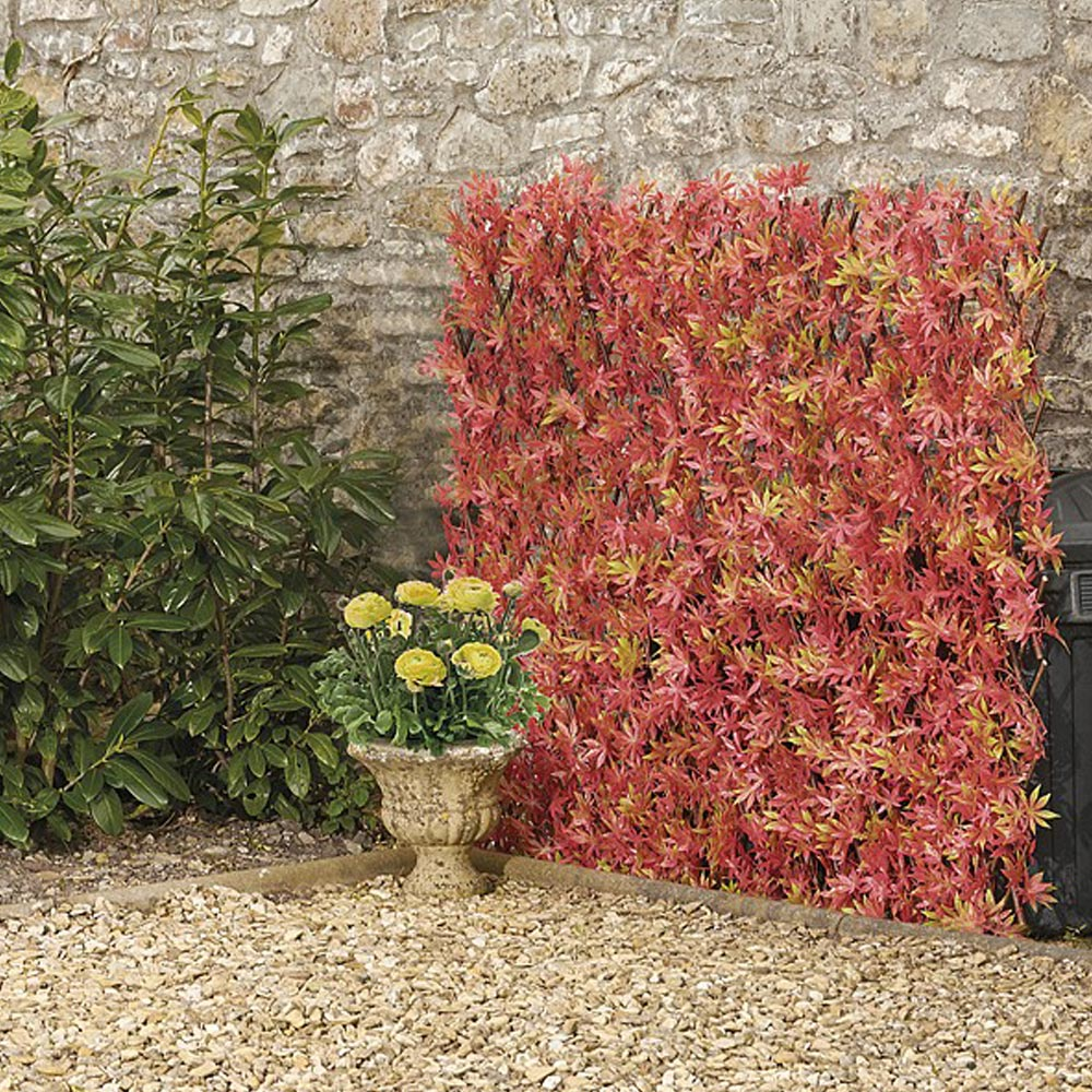 Image of Expandable Artificial Red Acer Hedge Trellis