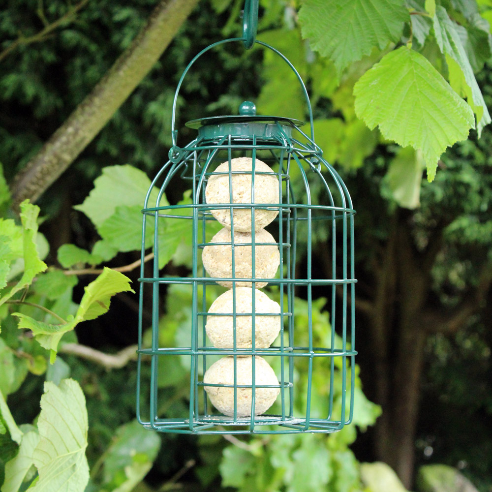 Image of Kingfisher Green Powder Coated Squirrel Guard Fat Ball Feeder