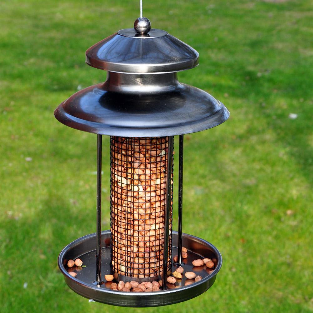 Image of Kingfisher Pewter Effect Lantern Nut Feeder
