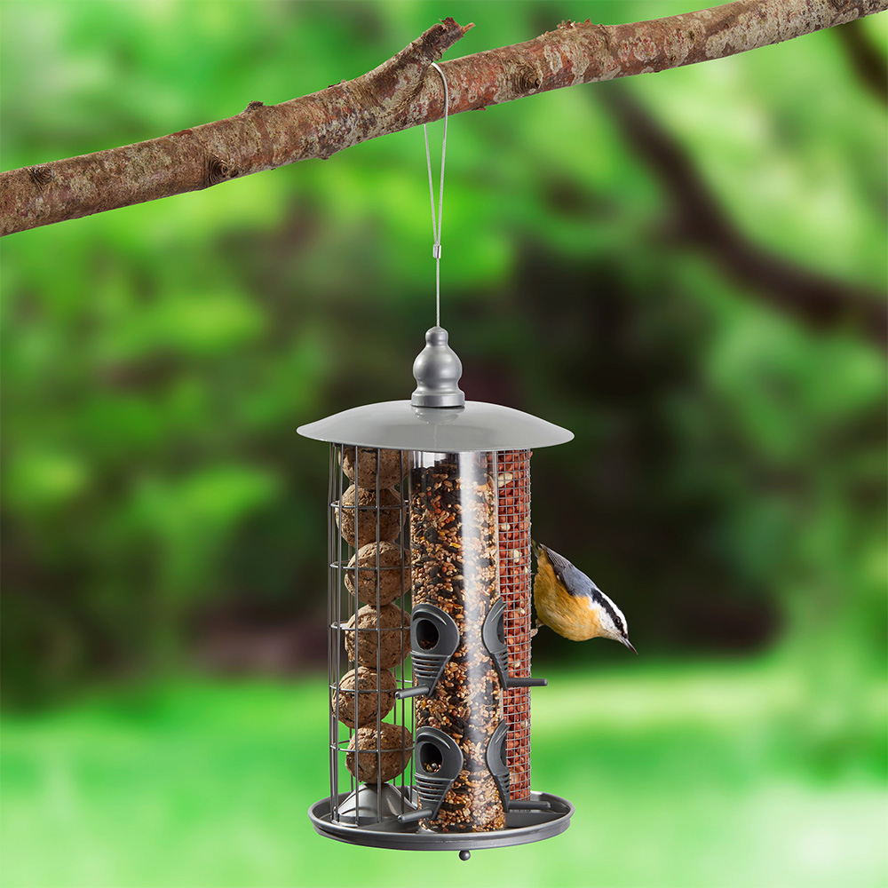 Image of Kingfisher Metal 3 in 1 Suet Fat Ball, Seed And Nut Feeder with Tray