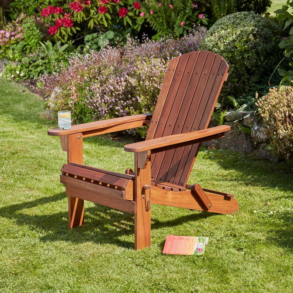 Image of Garden Life Acacia Hardwood Folding Adirondack Chair