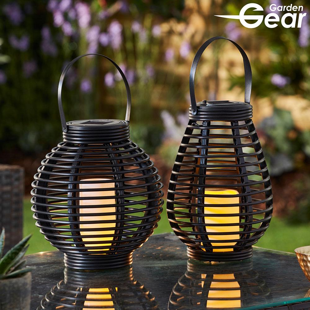 Image of Garden Gear Flickering Candle Rattan Solar Lantern