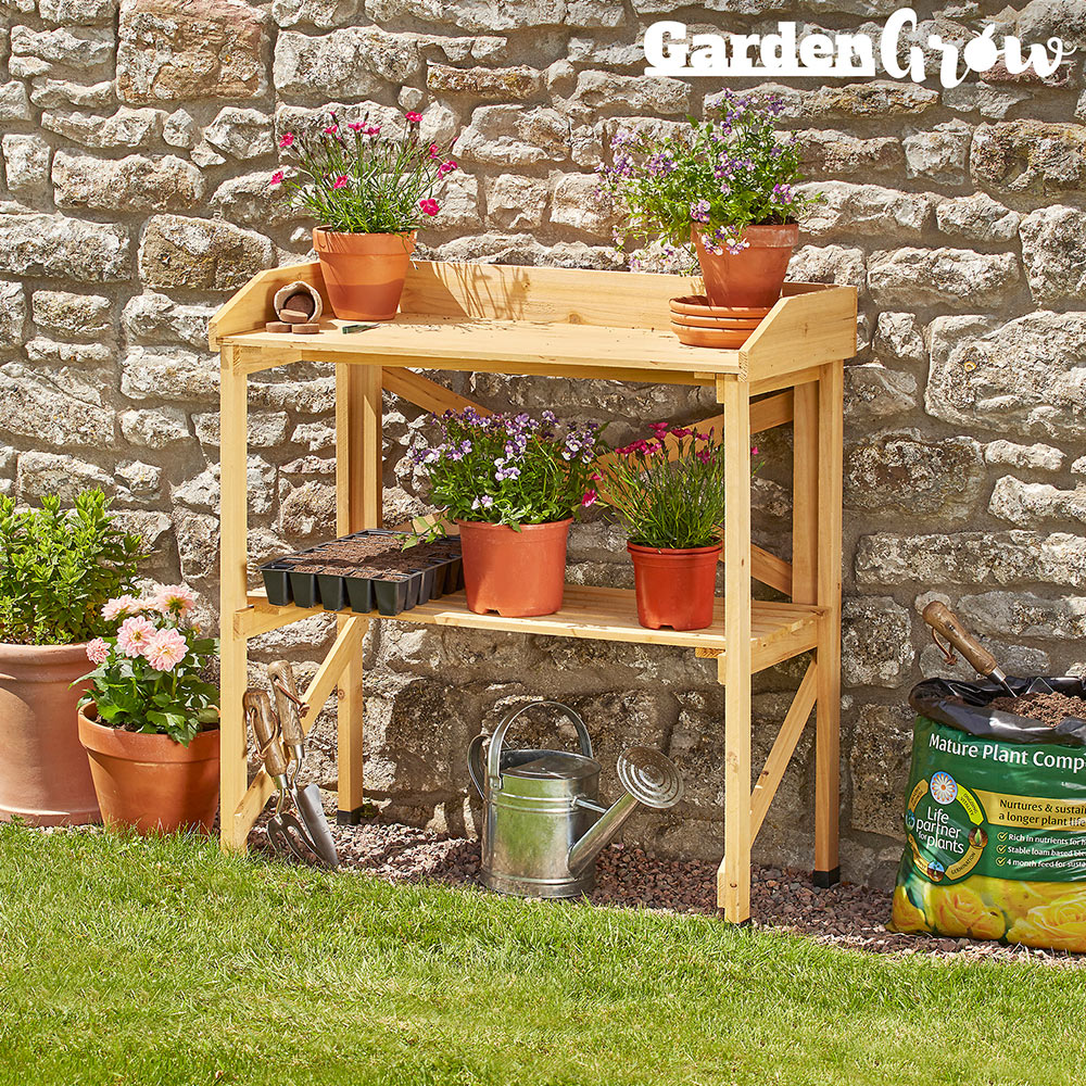 Image of Garden Grow Wooden Two-Tier Potting Bench
