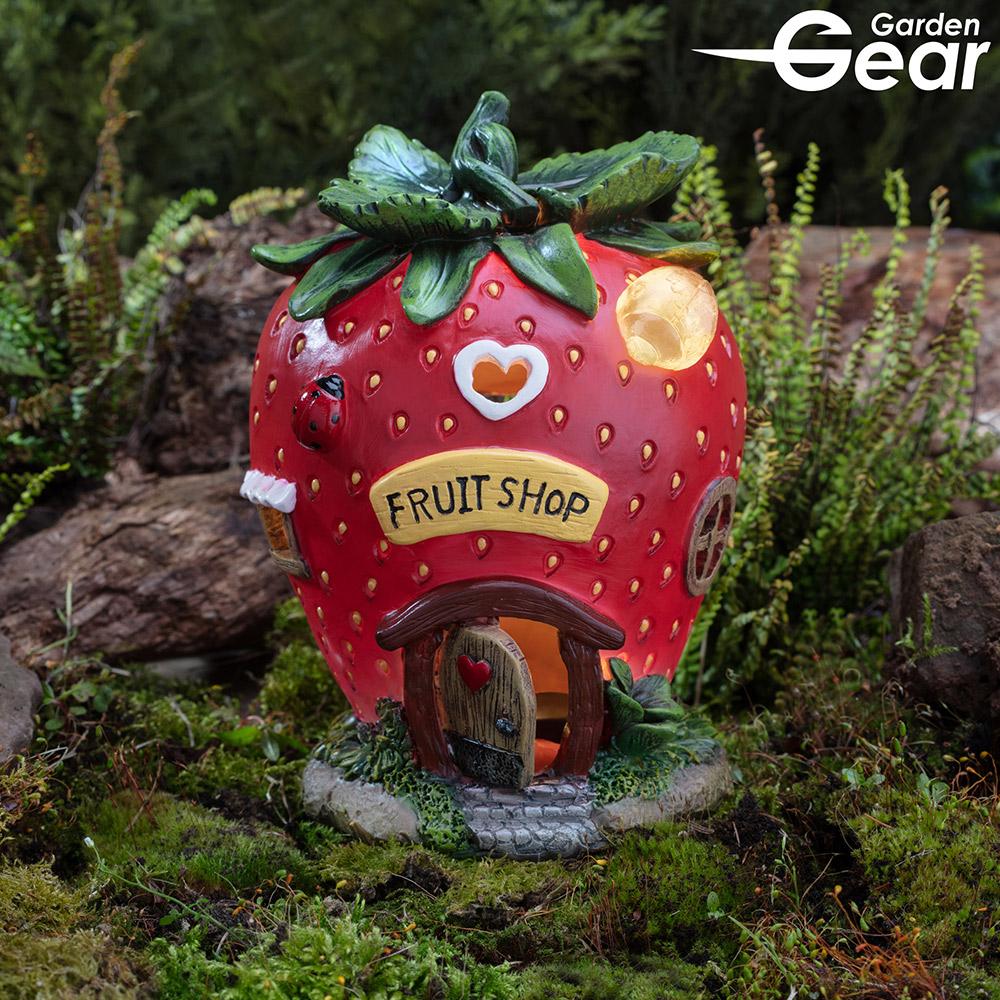 Image of Garden Gear Solar LED Fruit House - Strawberry
