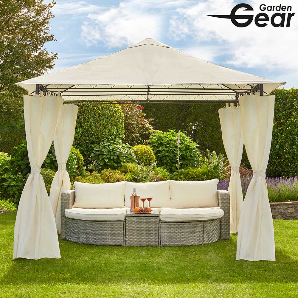Image of Garden Gear 3x3m Metal Gazebo with Cream Roof and Curtains