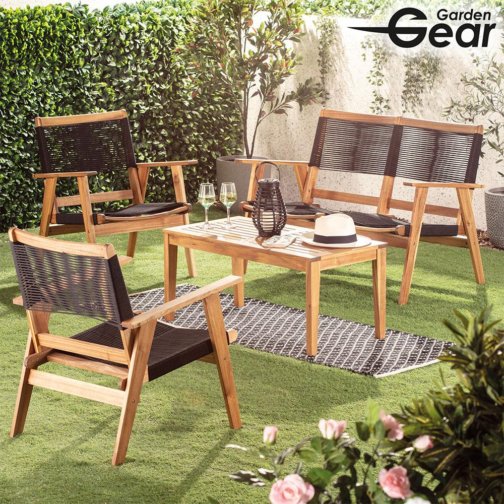 Image of Garden Gear Acacia Black String Sofa Set