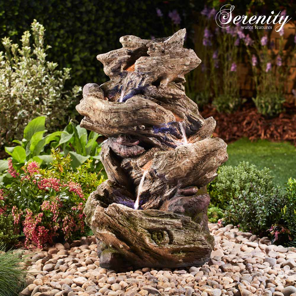 Image of Serenity Four-Tier Wood-Effect Water Feature