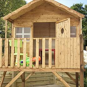 x  waltons honeypot honeysuckle tower wooden playhouse with slide