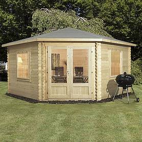 4m x 4m Waltons Lodge Corner Log Cabin