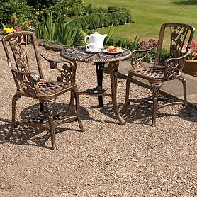 Three-Piece Rose Armchair Bistro Set - Bronze