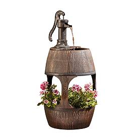 barrel fountain planter