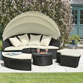 Rattan Day Bed With Table 183cm Black