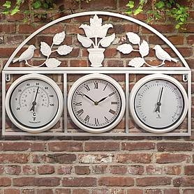 Garden Clock and Weather Station - Cream