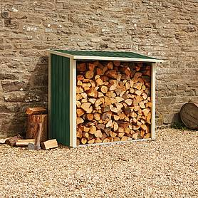 Waltons Metal Log Store 6X3X5.1Ft Dark Green