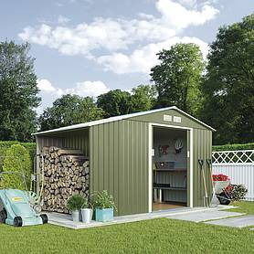 Waltons Log Store Metal Shed 9.1X4.2 Light Green