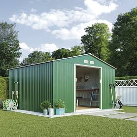 Waltons Apex Metal Shed 11.2X10.5Ft - Dark Green