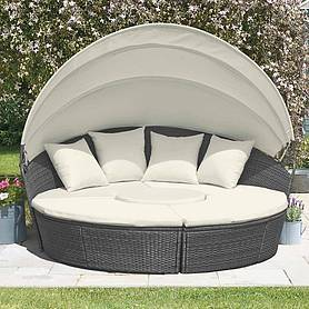 garden gear rattan daybed with table  cm