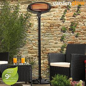 Garden Glow 2000W Floor Standing Patio Heater - Black