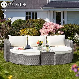 Firenze Five-Section Rattan Daybed - Light Grey