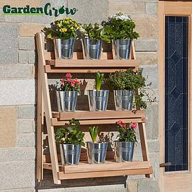 Garden Grow Three-Tier Folding Plant Stand - Natural - Large