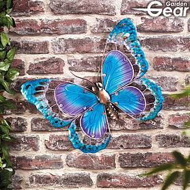 Garden Gear Metal and Glass Butterfly Wall Art - Blue