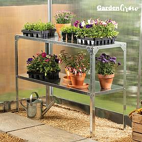 Garden Grow Two-Tier Galvanised Staging
