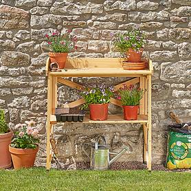 garden grow wooden twotier potting bench