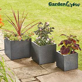 Garden Grow 3-Pack of Granito Cube Planters