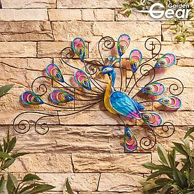 Garden Gear Metal and Glass Peacock Wall Art