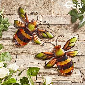 Garden Gear Metal and Glass Set of 2 Bees Wall Art