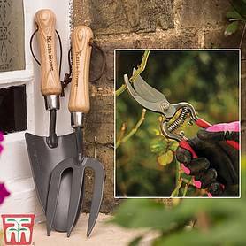 kent  stowe secateurs trowel and fork set