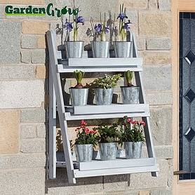 Garden Grow Three-Tier Folding Plant Stand - Light grey - Large
