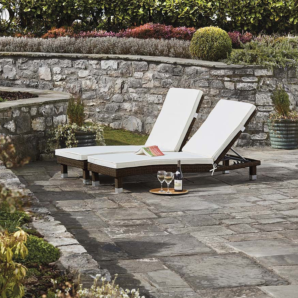 Image of Palermo Rattan Loungers - Twin Pack