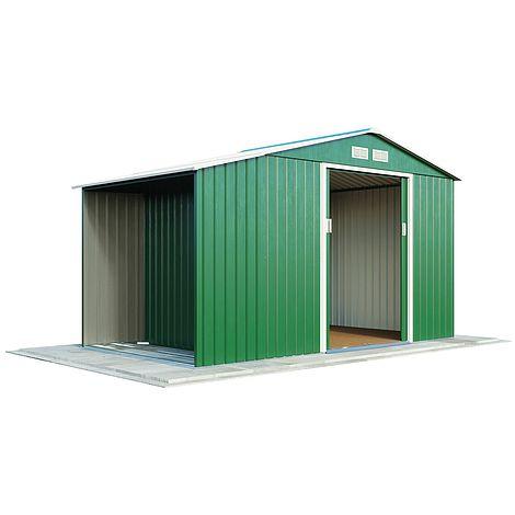 Waltons Log Store Metal Shed 9 1x4 2 Light Green
