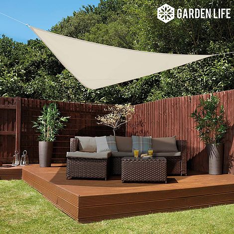 Garden Life 3 Metre Triangle Waterproof Sun Shade Sail Cream Thompson Morgan