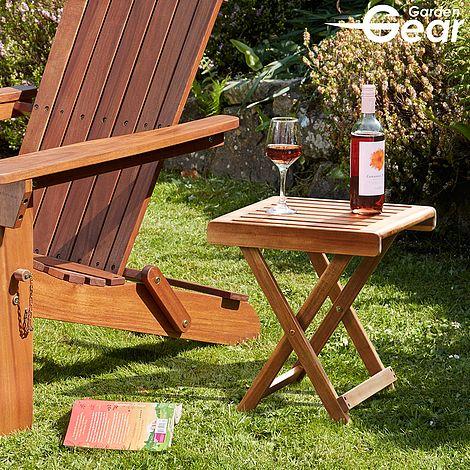 Garden Gear Acacia Folding Side Table, Folding Wooden Table For Garden