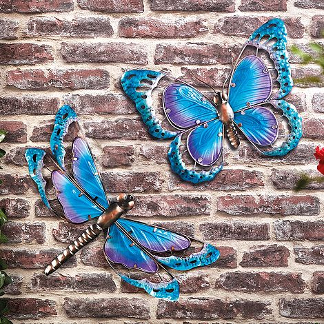 Metal Mini Blue Butterfly Wall Hanger Wall Hanging Outdoor Garden Decor Statues Lawn Ornaments Home Garden Ehpad Lapalisse Com