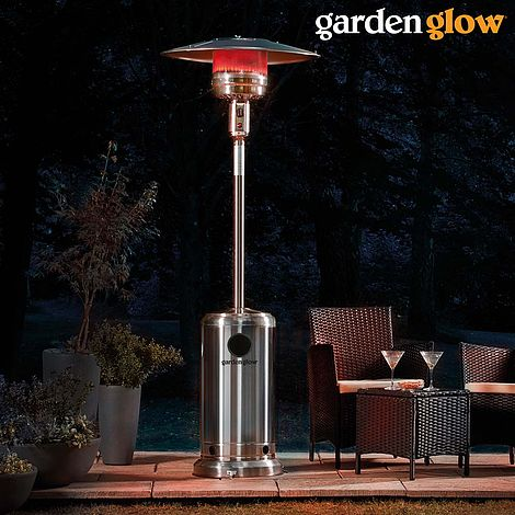 Garden Glow Stainless Steel Gas Patio Heater With Cover Thompson Morgan