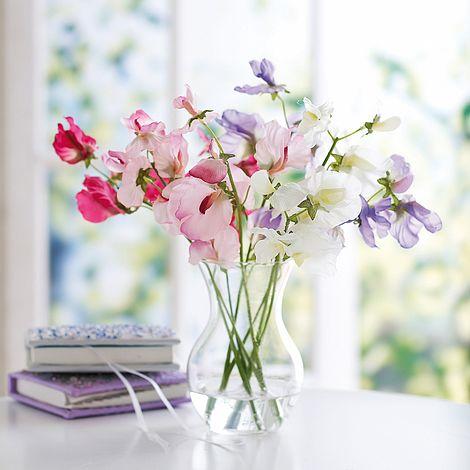 Silk Sweet Pea Vase Gift Thompson Morgan