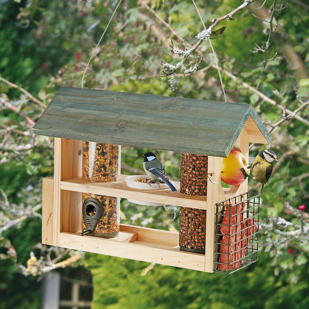 Wooden bird feeder station thompson morgan for How to make a wooden bird feeder