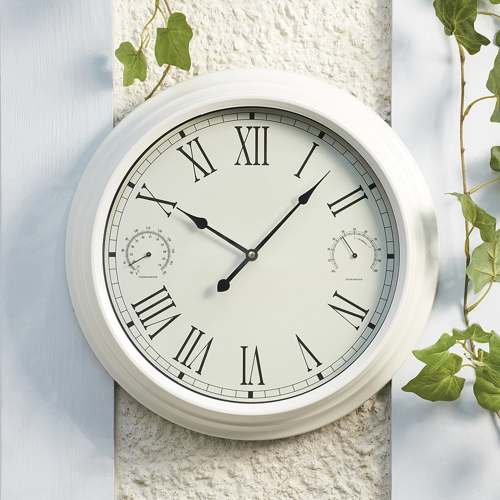 Traditional Garden Wall Clock And Weather Station Cream