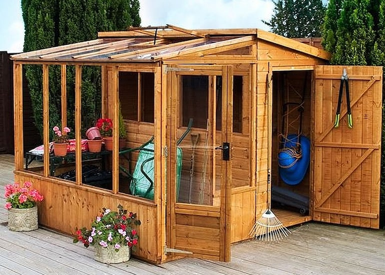 8 x 8 Waltons Tongue and Groove Combi Greenhouse and Wooden Shed from Thompson & Morgan