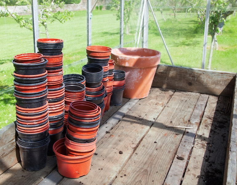 stacking up plant pots
