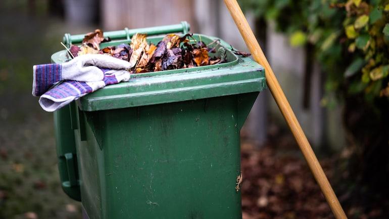 bin full of garden and household waste