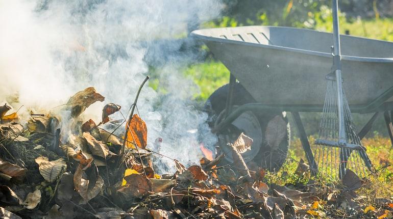 wheelbarrow near a bonfire in a garden