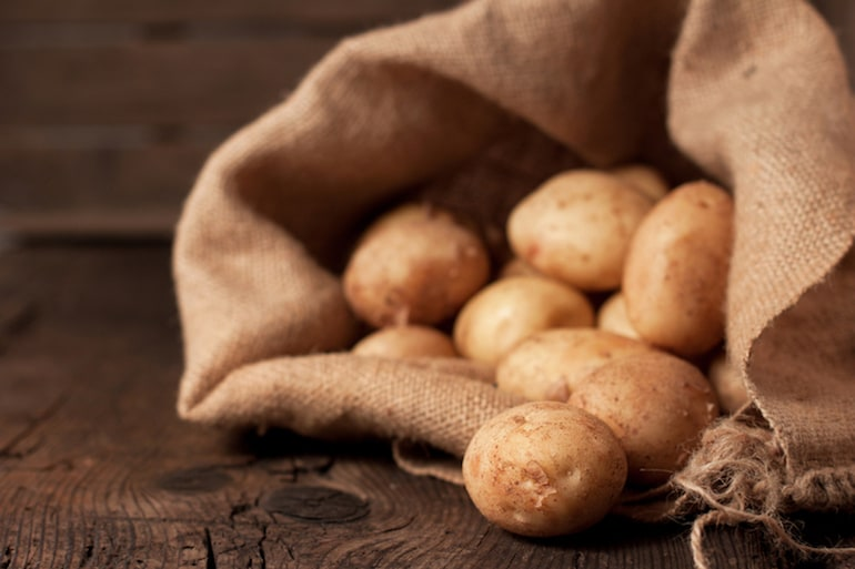Potatoes in a hessian sack
