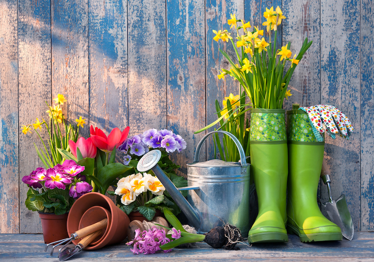 gardening tools, including wellies, daffodils, pots and a watering can against a painted backdrop